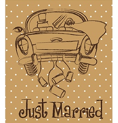 Just married car over brown background grunge vector