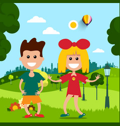 kids in park flat design scene vector image