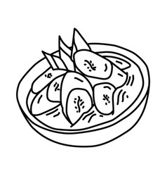 Kolak pisang icon doodle hand drawn or outline vector
