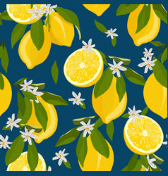 lemon fruits seamless pattern with flowers and vector image