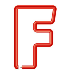 letter f plastic tube icon cartoon style vector image