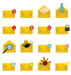 letters mail set in flat style isolated on white vector image