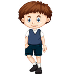 little boy in blue vest and shorts vector image