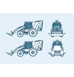 loader front side back view in line style vector image