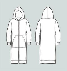 Long jacket with hood vector