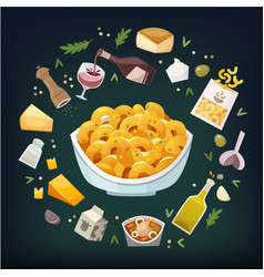 Macaroni and cheese dish with ingredients vector