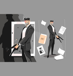 Male spy with handgun vector