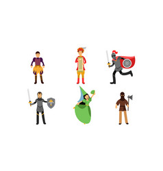 Medieval set with characters the vector