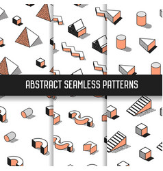 Memphis style abstract seamless patterns set vector