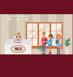 milk seller in shop dairy product presentation vector image