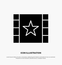 multimedia player stream star solid glyph icon vector image