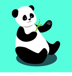 panda sitting and holding a bamboo branch vector image