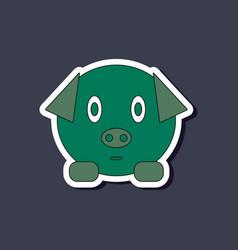 Paper sticker on stylish background kids toy pig vector