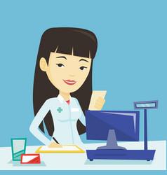 pharmacist writing prescription vector image