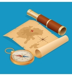 Pirate Treasure map on a ruined old Parchment with vector