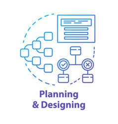Planning and designing concept icon system vector