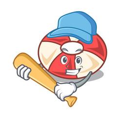 Playing baseball swim tube character cartoon vector