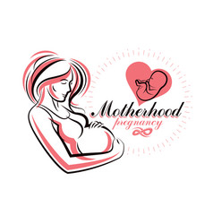 Pregnant female body shape hand drawn beautiful vector