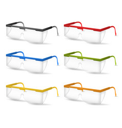 Realistic detailed 3d plastic safety glasses color vector
