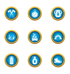 Risky hike icons set flat style vector