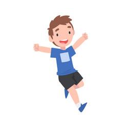 running little boy cute happy preschooler kid vector image