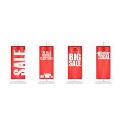 sale set of different red flags with design of vector image