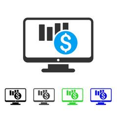 Sales chart monitoring flat icon vector