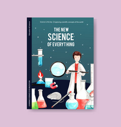 Science cover book design with laboratory vector