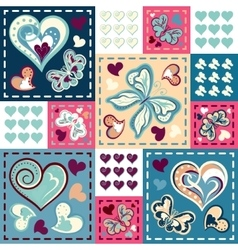 Seamless background with butterflies hearts in vector image