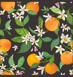 Seamless orange pattern with tropic fruits leaves vector