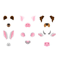 Selfie animal faces effects set vector