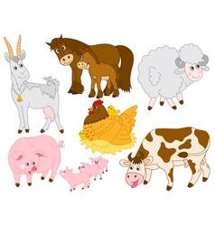 set cute farm animals vector image