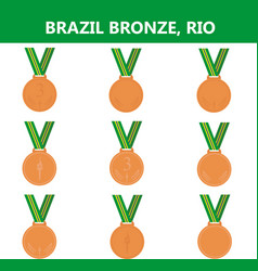 Set of bronze medals icons brazil summer vector