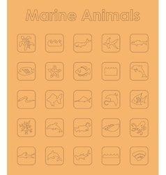 Set of marine animals simple icons vector