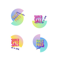 set of modern neon sale stickers badge for online vector image