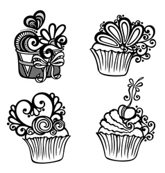 Set of Ornate Cakes vector