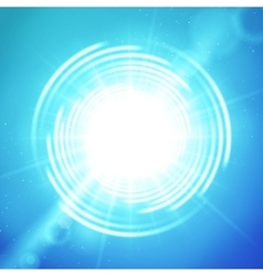 Shining sun or portal on blue background vector