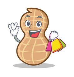 Shopping peanut character cartoon style vector