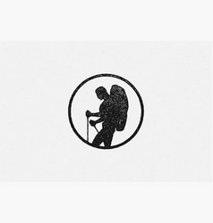 silhouette male hiker with backpack and sticks in vector image