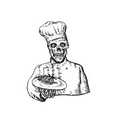 Skeleton Chef Cook vector