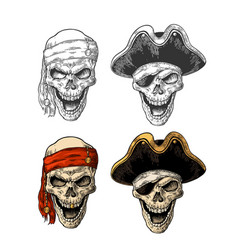 Skull in pirate with clothes eye patch captainhat vector