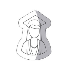 Sticker silhouette half body woman with graduation vector