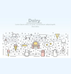 Thin line art dairy poster banner template vector