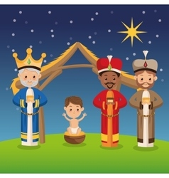 Three wise men icon Merry Christmas design vector image