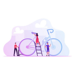 tiny male and female characters maintenance huge vector image
