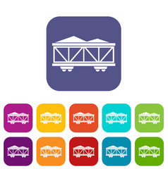 Train cargo wagon icons set vector