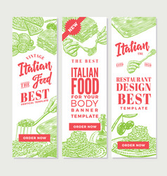 Vintage italian food vertical banners vector