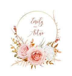 watercolor wedding invite card design blush peach vector image