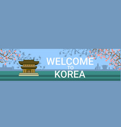 Welcome to korea poster with traditional temple or vector