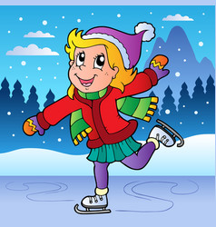 winter scene with skating girl vector image